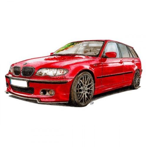 Dámské tričko s potiskem BMW e46 Handdrawn Červené
