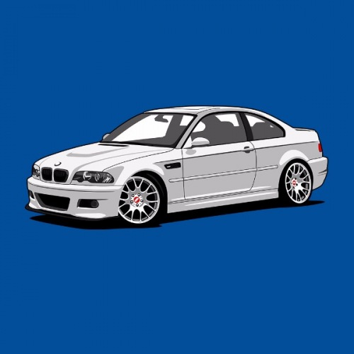 Pánské tričko s potiskem BMW e46 M3 bílá