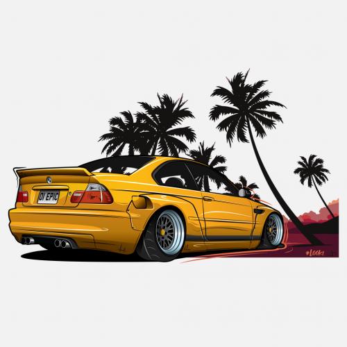 Pánské tričko s potiskem BMW E46 Pandem by Looki