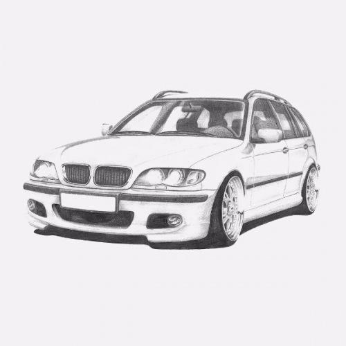 Dámské tričko s potiskem BMW e46 Touring Handdrawn