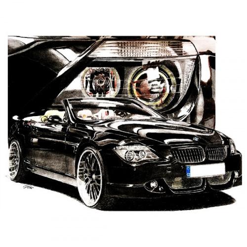 Dámské tričko s potiskem BMW E63 Cabrio Handdrawn
