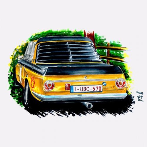 Pánské tričko s potiskem BMW 2002 žlutá: Handdrawn