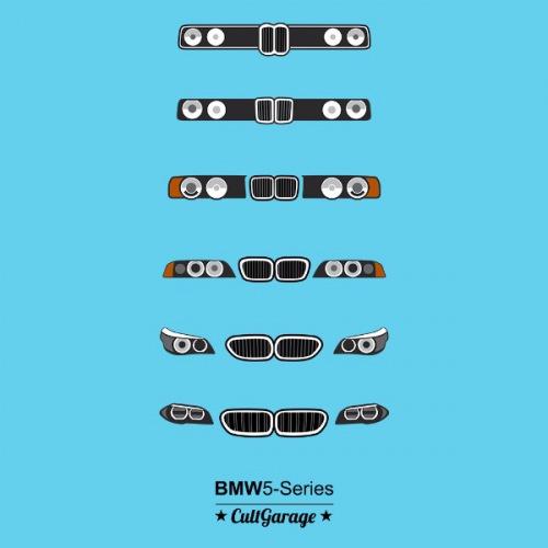Pánské tričko s potiskem BMW 5 Series Grill černá