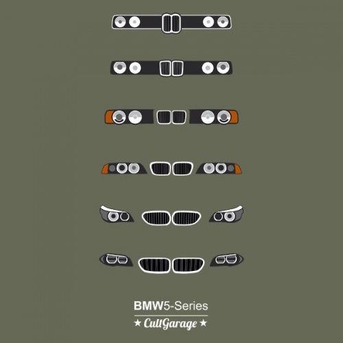 Pánské tričko s potiskem BMW 5 Series Grill bílá