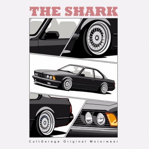 Pánské tričko s potiskem BMW e24 The Shark černá