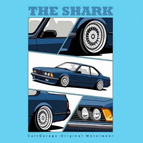 Pánské tričko s potiskem BMW e24 The Shark modrá