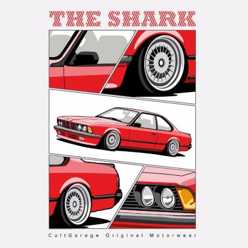 Pánské tričko s potiskem BMW e24 The Shark červená