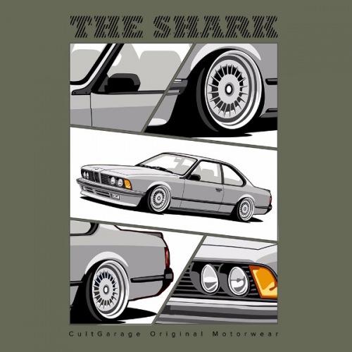 Dámské tričko s potiskem BMW e24 The Shark stříbrná