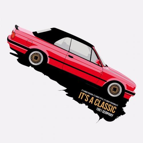 Dámské tričko s potiskem BMW e30 Cabrio červené