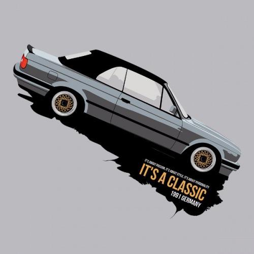 Pánské tričko s potiskem BMW e30 Cabrio: stříbrné