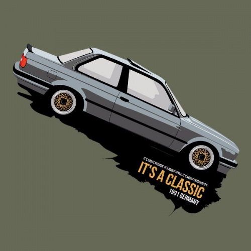 Pánské tričko s potiskem BMW e30 Coupe stříbrné