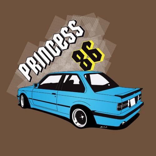 Dámské tričko s potiskem BMW e30 Coupe: Princess 86