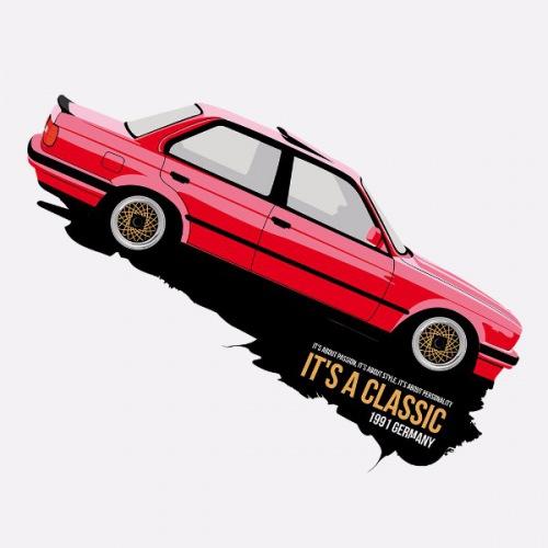 Dámské tričko s potiskem BMW e30 Sedan červený