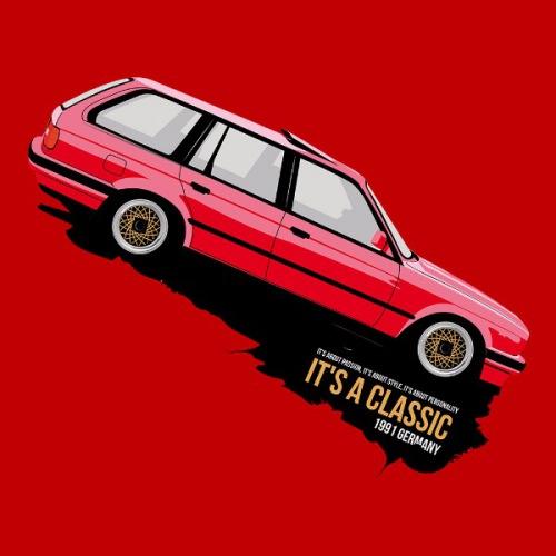 Dámské tričko s potiskem BMW e30 Touring červený