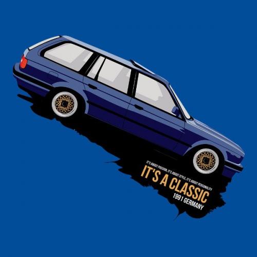 Dámské tričko s potiskem BMW e30 Touring modrý