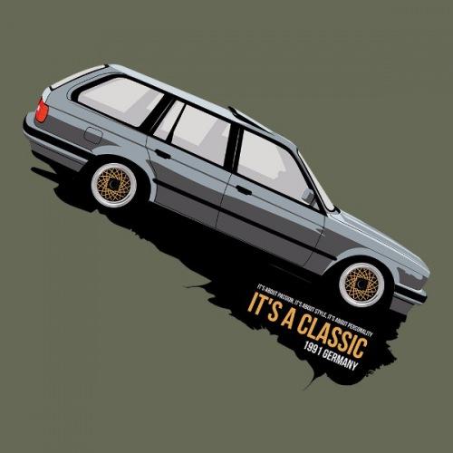 Dámské tričko s potiskem BMW e30 Touring stříbrný
