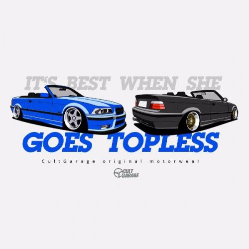 Dámské tričko s potiskem BMW e36 Cabrio modro/černé