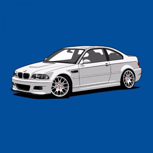 Dámské tričko s potiskem BMW e46 M3 bílá