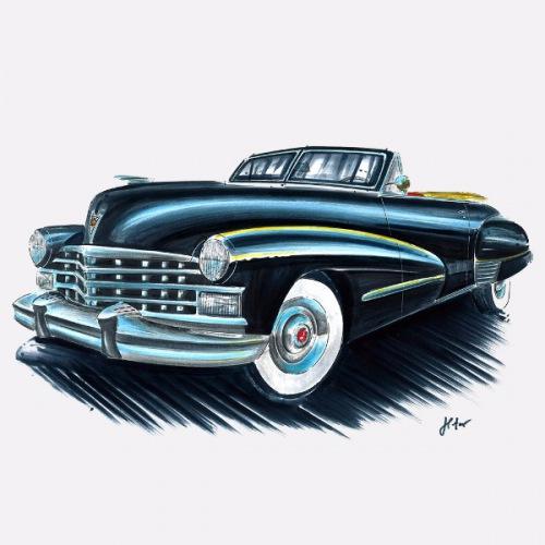 Dámské tričko s potiskem Cadillac Fleetwood 1947