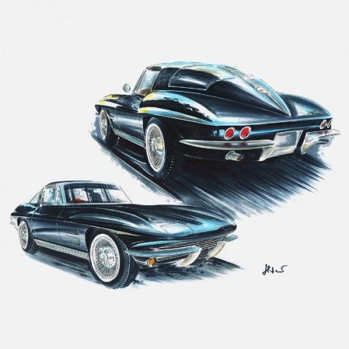 Pánské tričko s potiskem Chevrolet Corvette 1963 černý