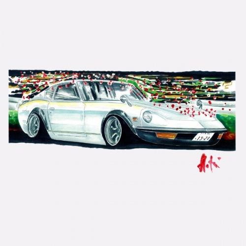 Pánské tričko s potiskem Datsun 240Z stříbrný