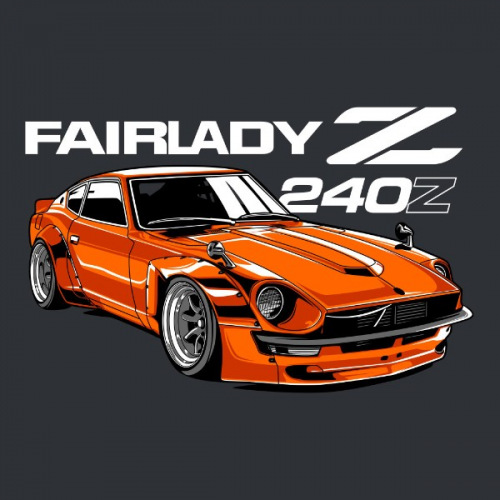 Dámské tričko s potiskem Datsun 240Z Fairlady orange