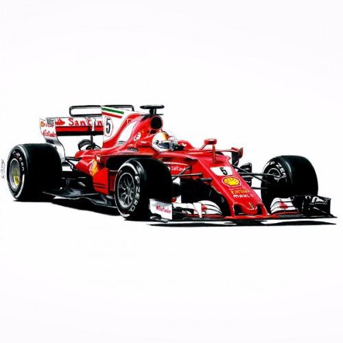 Dámské tričko s potiskem F1 Ferrari sf70h Handdrawn