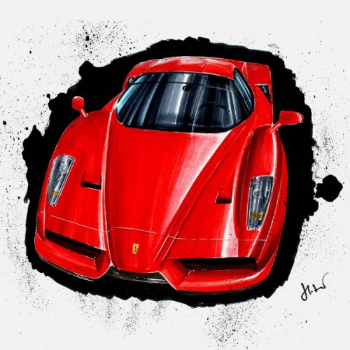 Women´s t-shirt Ferrari Enzo: Handdrawn