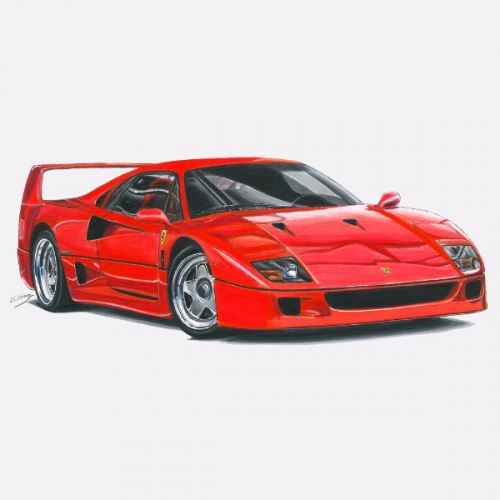 Dámské tričko s potiskem Ferrari F40: Handdrawn