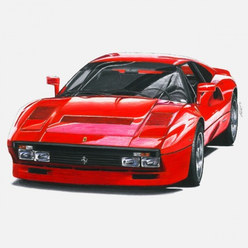 Dámské tričko s potiskem Ferrari 288 GTO: Handdrawn