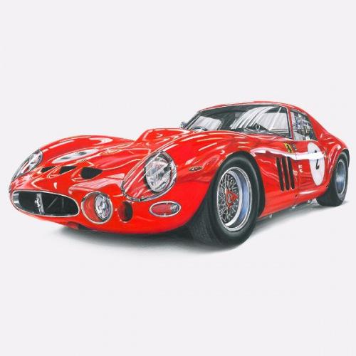 Dámské tričko s potiskem Ferrari 250 GTO: Handdrawn