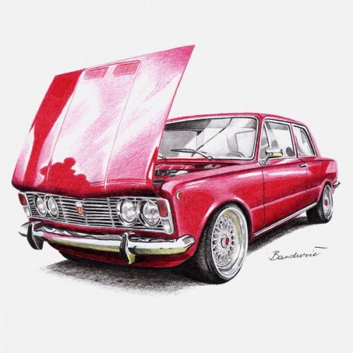 Dámské tričko s potiskem Fiat 125p červený