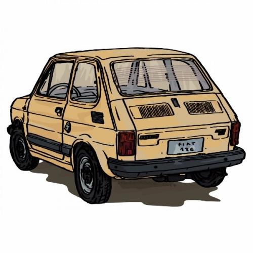 Dámské tričko s potiskem Fiat 126 žlutý