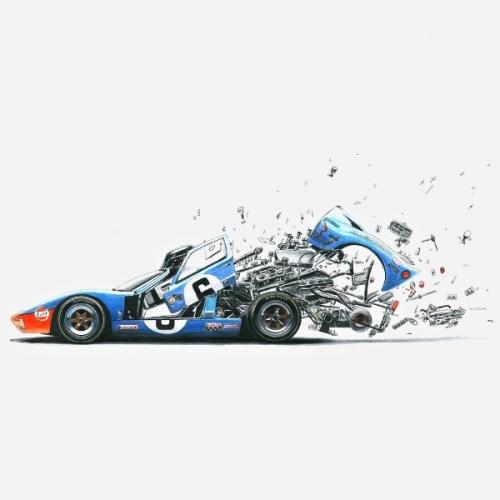 Pánské tričko s potiskem Ford GT40 explosion: Handdrawn