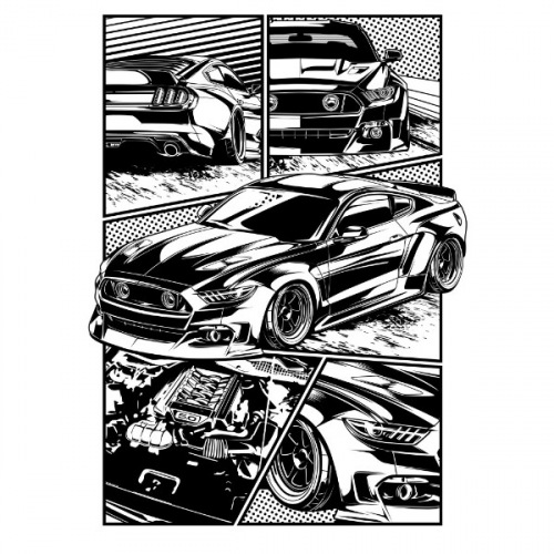 Pánské tričko s potiskem Ford Mustang S550 Cartoon