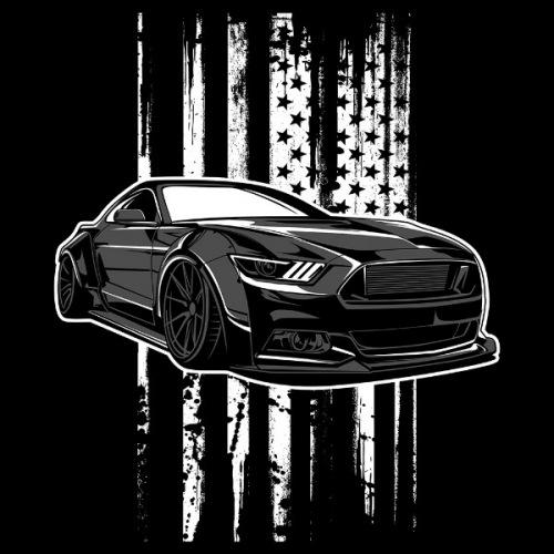 Dámské tričko s potiskem Ford Mustang - American Pride