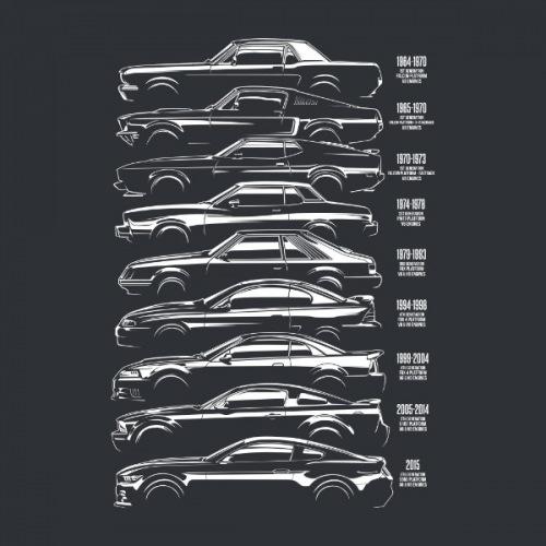 Dámské tričko s potiskem Ford Mustang Siluety