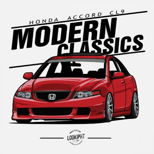 Dámské tričko s potiskem Honda Accord CL9 červená