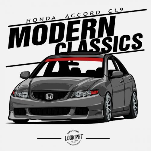 Dámské tričko s potiskem Honda Accord CL9 stříbrná