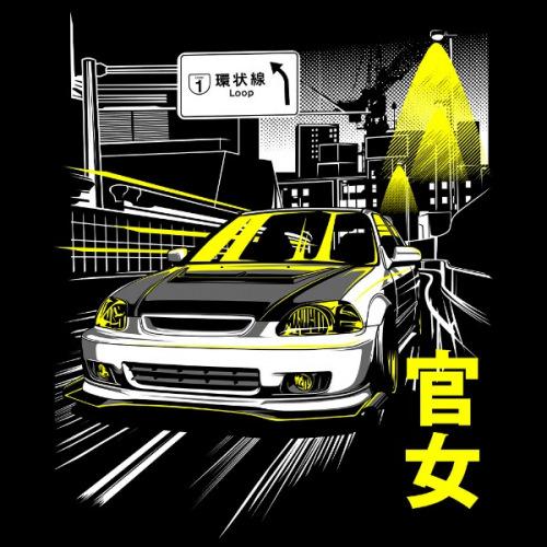 Pánské tričko s potiskem Honda Civic 6g-Kanjozoku Osaka