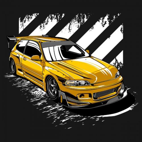 Dámské tričko s potiskem Honda Pandem EG6