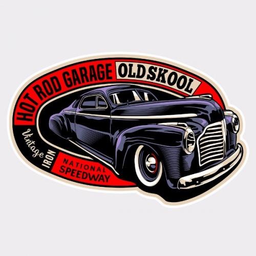 Pánské tričko s potiskem Hot Rod Garage Oldschool