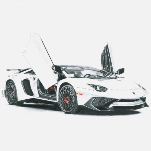 Pánské tričko s potiskem Lamborghini Aventador: Handdrawn