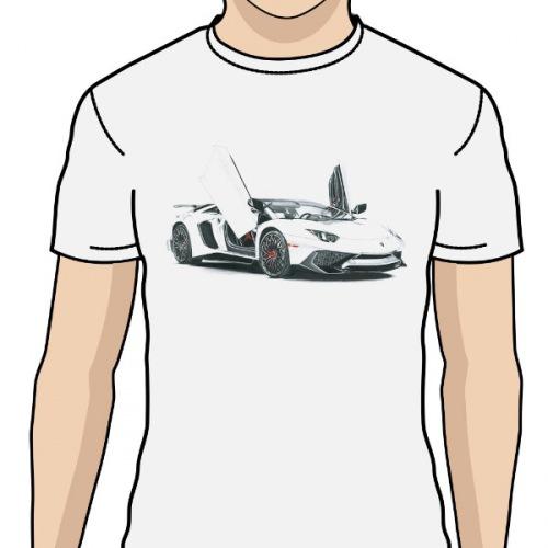 45353a52cc9 Pánské tričko s potiskem Lamborghini Aventador  Handdrawn