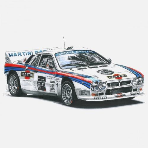 Dámské tričko s potiskem Lancia Rally 037: Handdrawn
