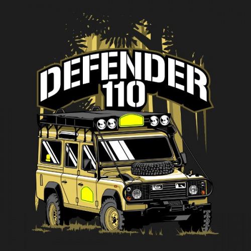 Dámské tričko s potiskem Land Rover Defender 110 Safari
