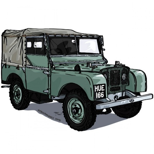 Dámské tričko s potiskem Land Rover Series 1 1948