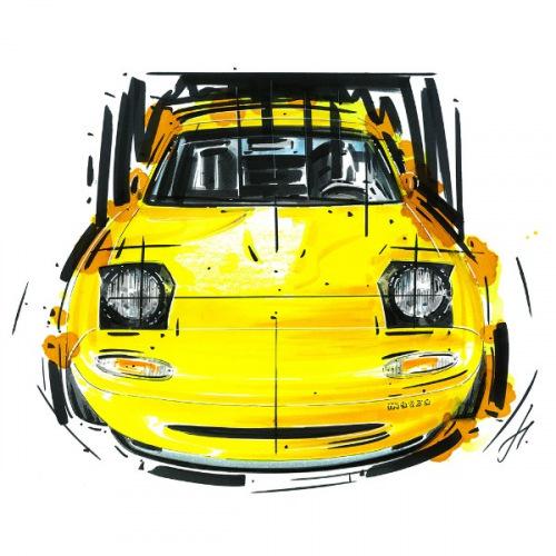 Dámské tričko s potiskem Mazda MX-5 yellow handdrawn