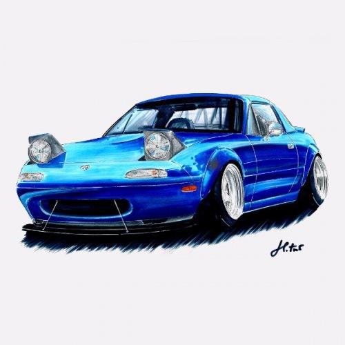 Pánské tričko s potiskem Mazda Miata Blue: Handdrawn