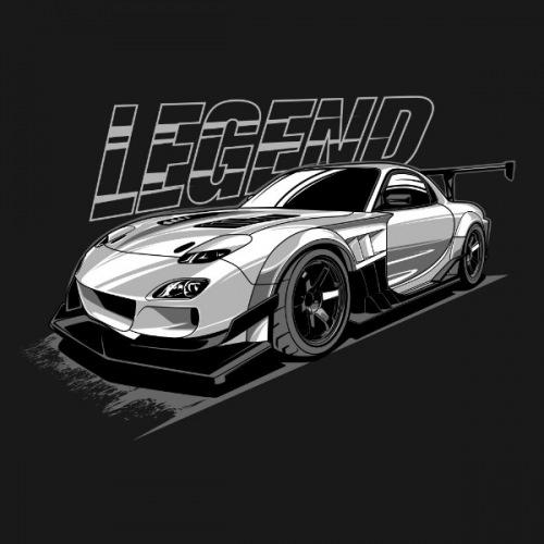 Pánské tričko s potiskem Mazda RX7 Legend bílá